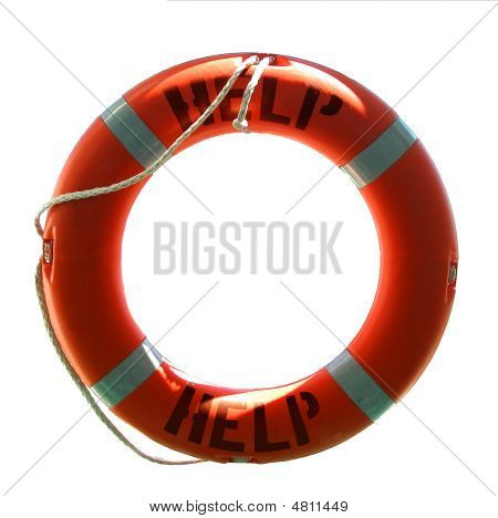 Life Preserver With Help Word - Isolated On White