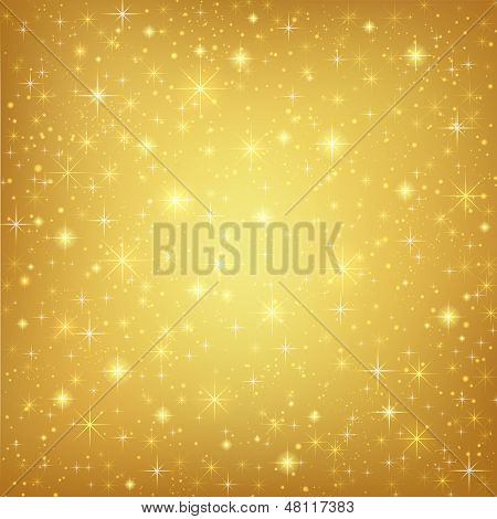 Abstract golden background with sparkling twinkling stars