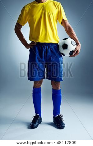 soccer world cup Brazil man standing ready to compete with ball