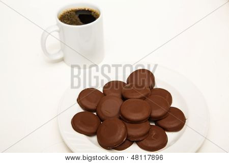 Chocolate Covered Mint Cookies With Coffee