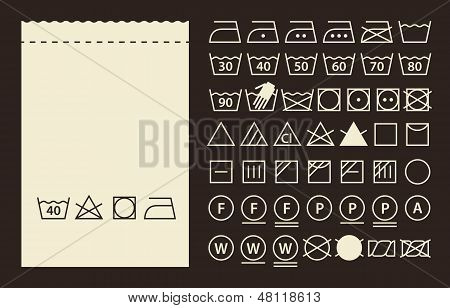 Textile Label And Washing Symbols (laundry Icons)