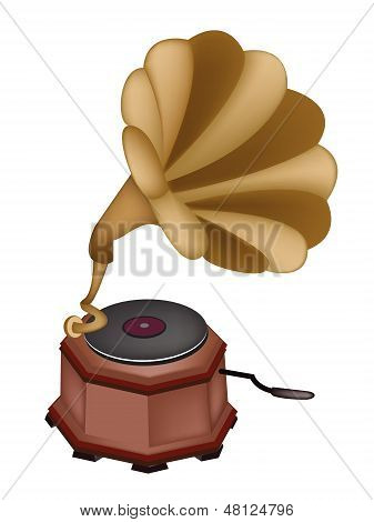 A Beautiful Vintage Gramophone On White Background