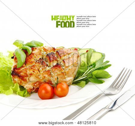 Glazed Roast Pork with vegetables isolated on white background.