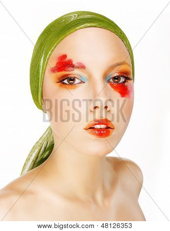 Fantasy. Glamor. Fashion Model In Green Shawl And Colorful Makeup
