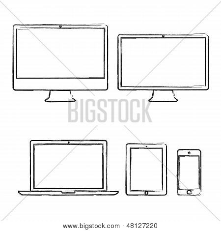 Hand-drawn electronic devices vector illustration