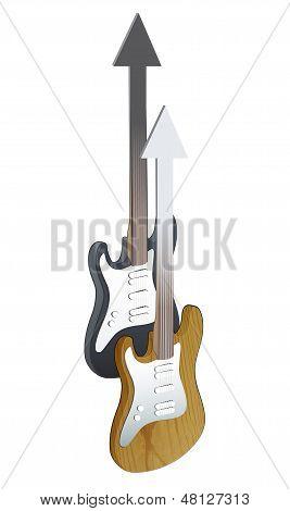 Realistische Bass und Gitarre auf weißem Hintergrund.