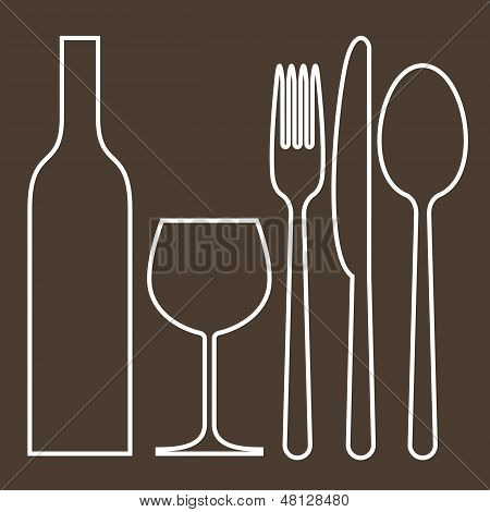 Bottle, Wineglass, Fork, Knife And Spoon