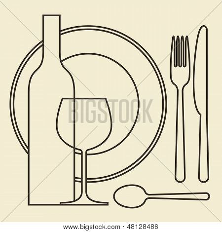 Bottle, Wineglass, Plate And Cutlery