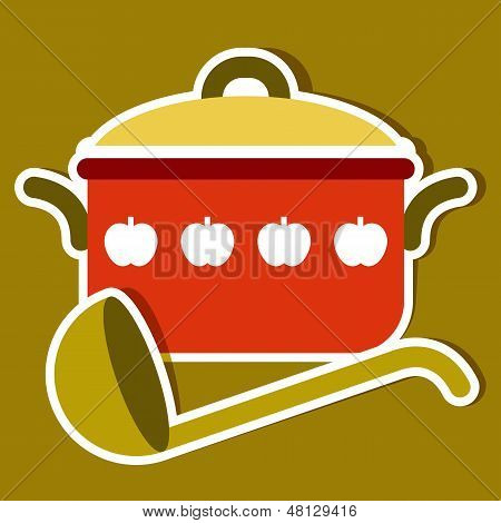 Cooking Pot And Ladle. Vector Kitchen Symbols