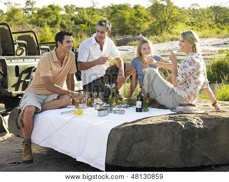 Cuatro personas disfrutando de picnic en roca con árboles en el fondo