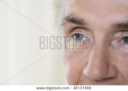Detail portrait shot of a senior man's face against blurred background