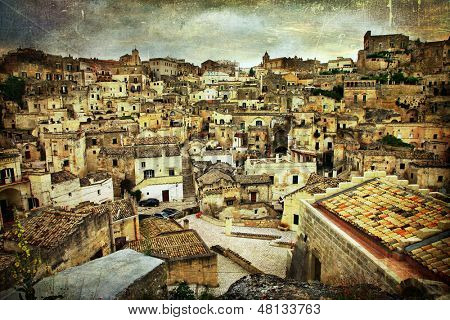 ancient Matera - Italy, artistic toned picture