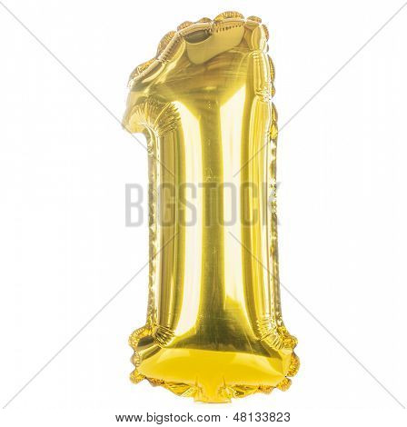Gold balloon font part of full set of numbers, number one, 1