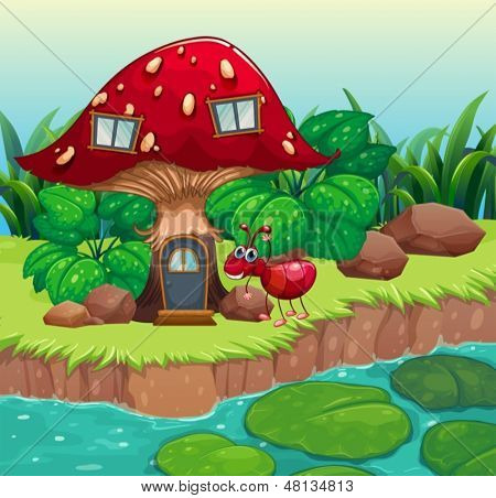 Illustration of an ant near the red mushroom house