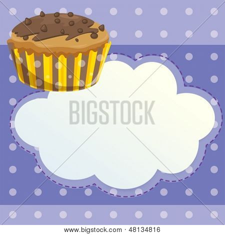 Illustration of a stationery with a mocha flavored cupcake
