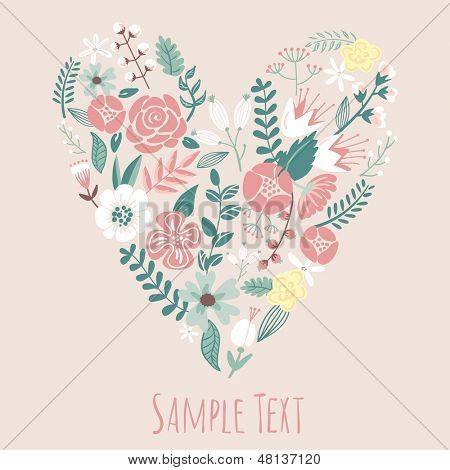 Floral Heart Card. Cute retro flowers arranged un a shape of the heart, perfect for wedding invitations ans birthday designs