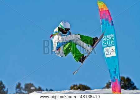 KUEHTAI, AUSTRIA - JANUARY 14 Tim-Kevin Ravnjak (Slovenia) places second in the men's halfpipe event on January 14, 2012 in Kuehtai, Austria.