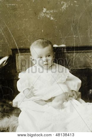 MOSCOW, RUSSIA, CIRCA  1916: Antique photo, portrait of a little girl, circa 1916