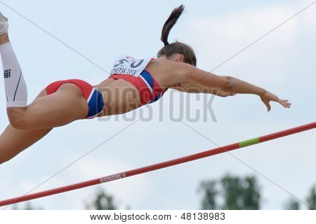 DONETSK, UKRAINE - JULY 11: Lene Onsrud Retzius of Norway competes in Pole Vault during 8th IAAF World Youth Championships in Donetsk, Ukraine on July 11, 2013