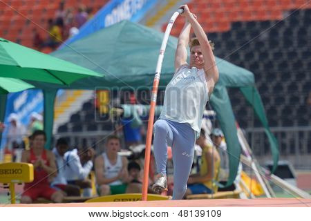 DONETSK, UKRAINE - JULY 12: Luka Jereb of Slovenia competes in Pole Vault during 8th IAAF World Youth Championships in Donetsk, Ukraine on July 12, 2013