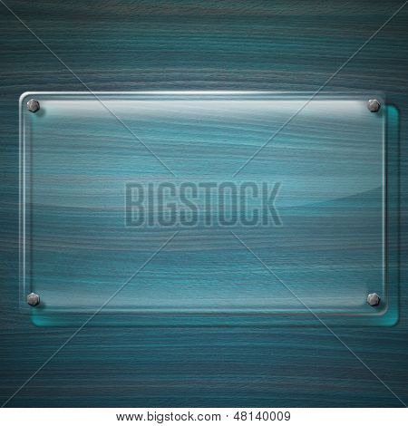 Glass Plate On Turquoise Wood Background