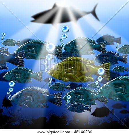Sea Abyss Stylized Fish Background