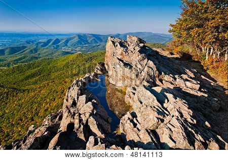 Early Evening View Of The Blue Ridge Mountains And Shenandoah Valley From Little Stony Man Mountain,