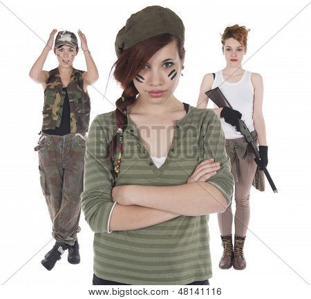 Three Girls Improvised Soldiers