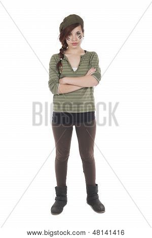 Girl With Arms Crossed Dressed As A Mercenary