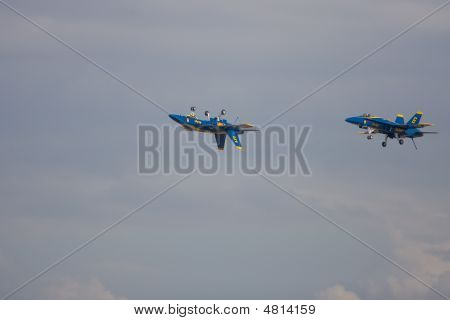 A Pair Of Blue Preform A Stunt Flyby