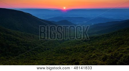 Sunset Over The Appalachian Mountains And Shenandoah Valley From Crescent Rock, Shenandoah National