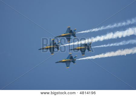 Thr Us Navys Blue Angels Flight Team Doing A Flyby