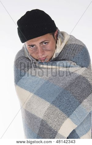 Homeless Wrapped In A Blanket