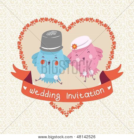 Invitation or wedding card with two happy bird in pastel color