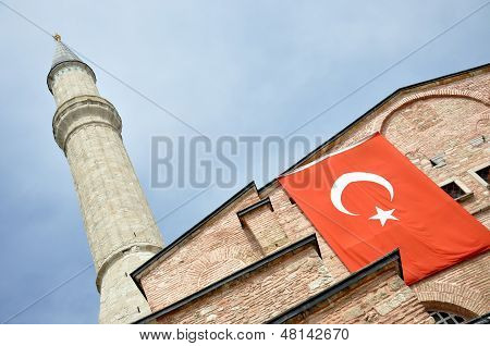 Mosque with turkish flag