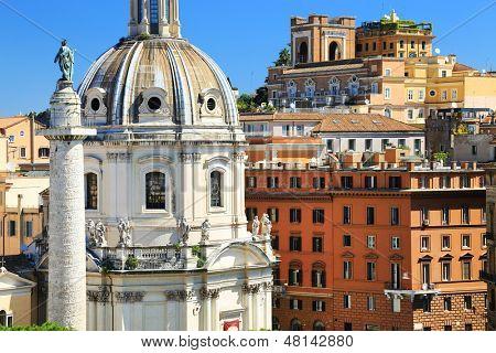 Trajan's Column and Santa Maria di Loreto church, Rome, Italy, Europe