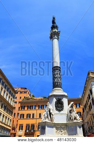 Immaculate column in Mignanelli Square, Rome, Italy, Europe