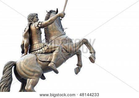 Warrior on a horse monument in Skopje