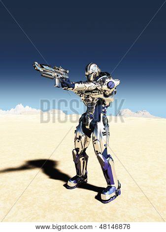 Space Marine in Metallic Armour - Aiming Gun