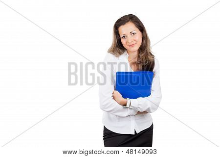 Business woman holding document case
