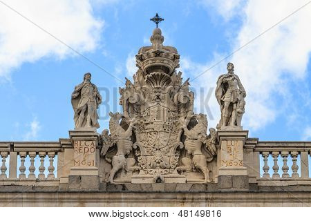 Madrid Royal Palace, Coat Of Arms On Top Of Palace, Spain
