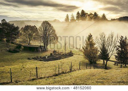 Uma imagem de uma paisagem de outono agradável na Baviera-Alemanha