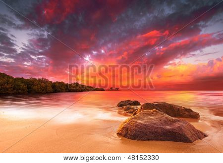 A Peaceful tropical scene at sunset