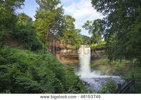 Minnehaha Falls In Minneapolis, Minnesota On A Summer Morning