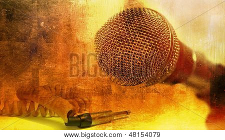 Vintage Microphone And Jack Cable