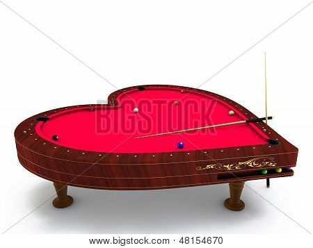 heart type pool table