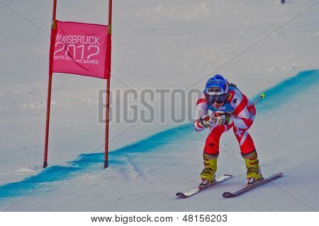 PATSCHERKOFEL, AUSTRIA - JANUARY 15 Jasmina Suter (Switzerland) places 7th in the Super-G of the Ladies' Super Combined on January 15, 2012 in Patscherkofel, Austria.