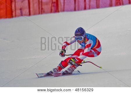 PATSCHERKOFEL, AUSTRIA - JANUARY 15 Luana Fluetsch (Switzerland) places 10th in the Super-G of the Ladies' Super Combined on January 15, 2012 in Patscherkofel, Austria.