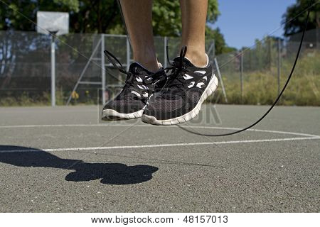 Male Using Jump Rope
