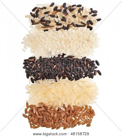 Mixed Rice top view surface close up Macro Texture isolated on white background